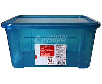 AUCHAN Caja de ordenación con tapa, capacidad de 13 litros, fabricada en plástico azul, 37,7x27,7x18,8 centímetros 1 Unidad
