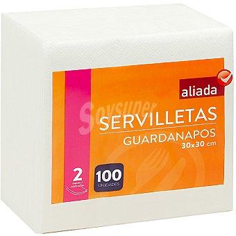 Aliada Servilletas blancas 2 capas 30x30 cm Paquete 100 unidades