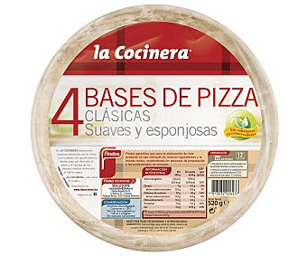 La Cocinera Base de pizza clásica Pack de 4 x 130 g