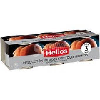 Helios Melocotón en almíbar sin azúcar Pack 3x115 g