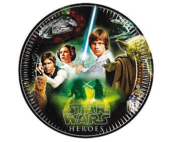 Star Wars Platos desechabes de cartón con diseño Star Wars & Heroes, 23 centímetros de diámetro Pack de 8 unidades