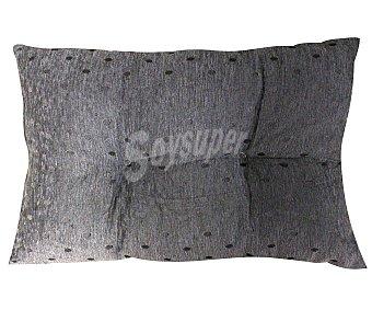 AUCHAN Cojín de chenilla color gris estampado topos, 37x57 centímetros 1 Unidad