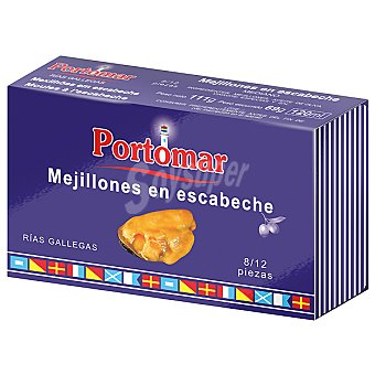 Portomar Mejillones en escabeche de las rías gallegas 8-12 pieza Serie Náutica lata 68 g neto escurrido Lata 68 g neto escurrido