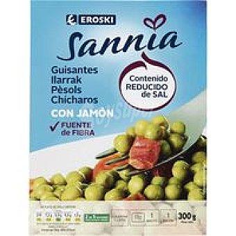 Eroski Sannia Guisantes con jamón Bandeja 300 g