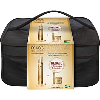Pond's Pack Gold Radiance crema antiarrugas de día dosificador + crema de día mini envase 7 ml + crema de noche tarro 10 ml + neceser 50 ml