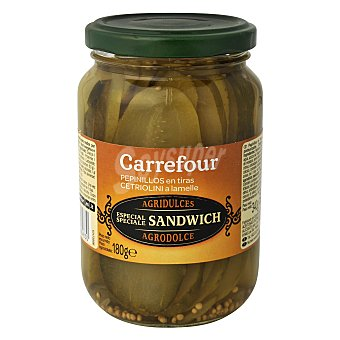 Carrefour Pepinillo en tiras agridulce 180 g