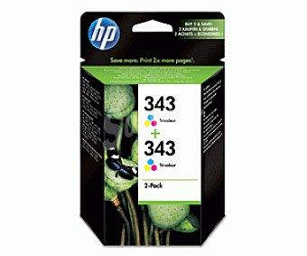 HP Cartuchos de Tinta 343 Color 2 Unidades
