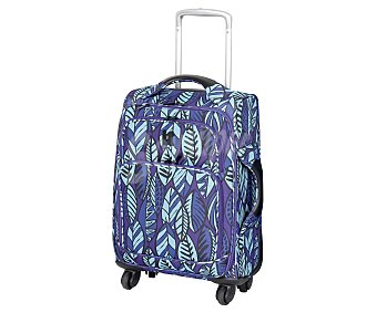 ITLUGGAGE Maleta de 4 ruedas, flexible, material: eva, estampado hojas étnicas azul y morado Medidas: 79.5x48.5x31.