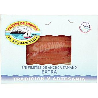 El Xillu Filetes de anchoa en aceite de oliva tamaño extra 7-8 piezas Bandeja 37 g neto escurrido