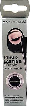 Maybelline New York Perfilador ojos eye liner gel negro 24 h (contiene pincel profesional) 1 unidad