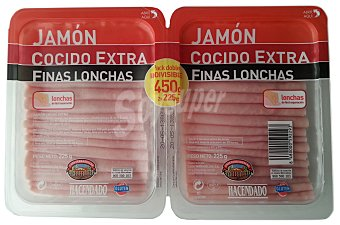 Hacendado Jamon cocido lonchas finas Pack 2 u de 225 g - 450 g