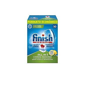FINISH Todo en 1 Lavavajillas máquina limón Caja 30 dosis