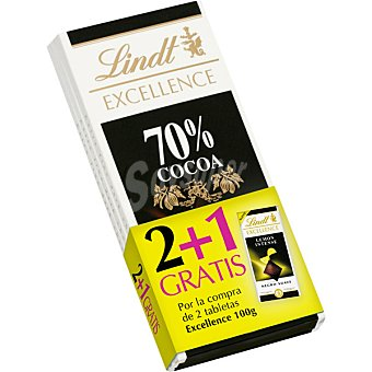 Lindt Excellence Chocolate negro 70% cacao pack 2 tabletas 100 g Pack 2 tableta