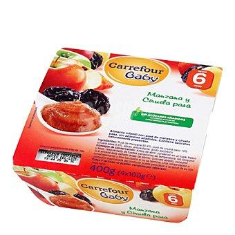 Carrefour Baby Tarrito de manzana y ciruela Pack 4x100 g