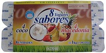 Hacendado Yogur coco macedonia Pack 8 x 125 g - 1 kg