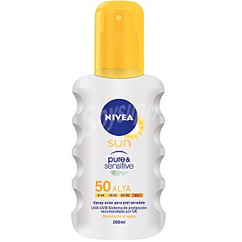 Nivea Sun Spray solar FP-50 para piel sensible resistente al agua Pure & Sensitive Spray 200 ml