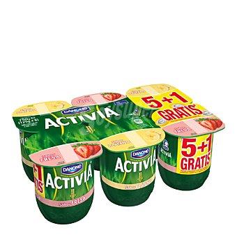 Activia Danone Yogur Activia de fresa-plátano Pack 6x125 g