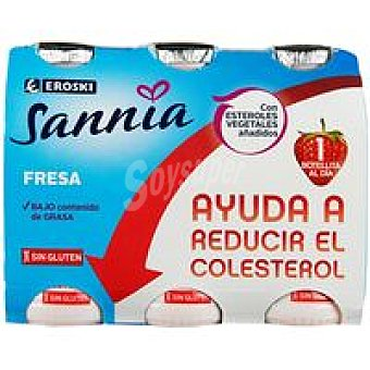 Eroski Sannia Reductor de colesterol sabor fresa Pack 6x100 g