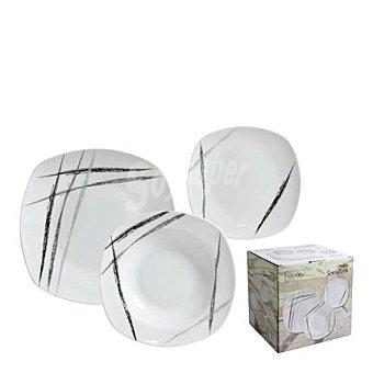 Vajilla 18 piezas en porcelana decorada Mod. SCRATCH     18 piezas