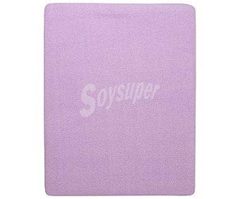 Auchan Juego de sábanas pirineo, 100% poliéster color malva con estampado ondas, 135cm 1 unidad