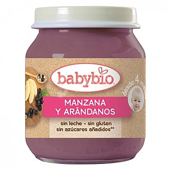 BabyBio Tarrito de manzana y arándanos desde 4 meses sin azúcar añadido ecológico sin gluten 130 G 130 g