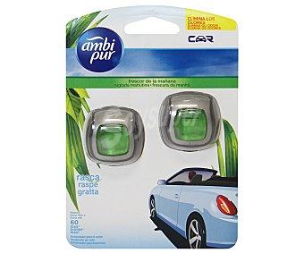 AMBIPUR CAR Ambientador de Coche para Rejilla de Ventilación Clip, Olor Frescor de la Mañana 2 Unidades