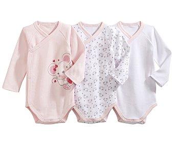 In Extenso Lote de 3 bodies cruzados de manga larga de algodón color rosa, talla 62