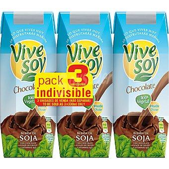 PASCUAL VIVE SOY bebida de soja sabor chocolate  pack 3 envase 250 ml