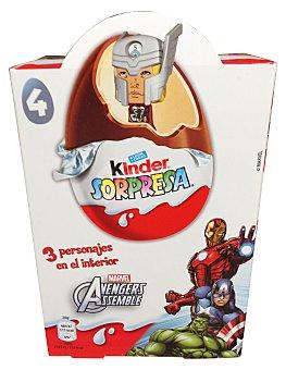 KINDER Huevo de chocolate sorpresa Caja de 4 unidades