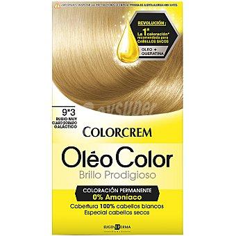 Colorcrem Tinte óleo Color Rubio Muy Claro Dorado Galáctico nº 9.3 coloración permanemte caja 1 unidad sin amoniaco Caja 1 unidad