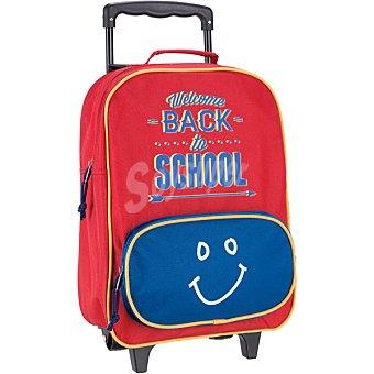 Huamin | mochila infantil de abecedario en color rojo y azul con ruedas
