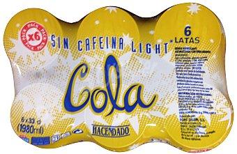Hacendado Cola light sin cafeina Lata pack 6 x 330 cc - 1980 cc