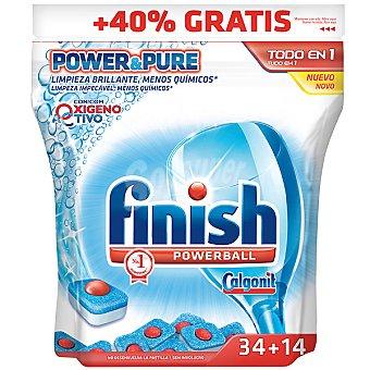FINISH CALGONIT detergente lavavajillas Power Ball todo en 1 con oxígeno activo  bolsa 34 pastillas