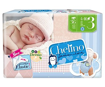 Chelino Pañales talla 3 para bebés de 4 a 10 kilogramos 36 unidades