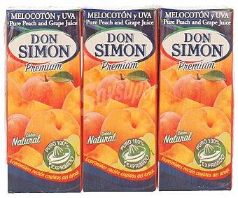 Don Simón Zumo de melocotón y uva 100% exprimido Pack 3 unidades 200 mililitros