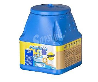 POOLPO Dosificador flotante con tratamiento de 4 funciones (desinfectante, algicída, floculante y antical) de 700 gramos, válido para 3 semanas 1 unidad