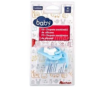 Baby Chupete anatómico de silicona +4 Mese, Azul 2 Unidades
