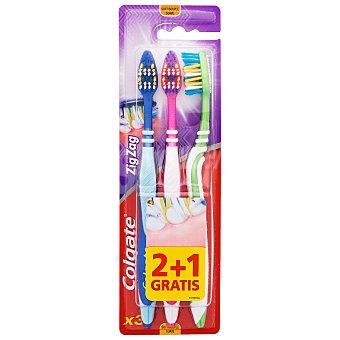 Colgate Cepillo dental zig zag suave Blister 3 unidades