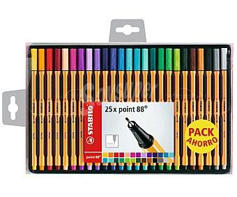 Stabilo Caja de 25 rotuladores con punta fina, grosor de trazado de 0,4 milímetros y de diferentes colores 1 unidad