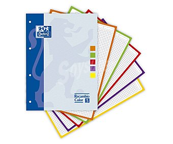 Oxford Recambio tamaño folio, con cuadrícula de 5x5 milímetros, margen izquierdo, 4 taladros y 80 hojas de 90 gramos con recuadro de 5 colores diferentes 1 unidad