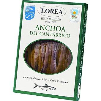 LOREA Filetes de anchoa en aceite de oliva virgen extra ecologico lata 60 g neto escurrido