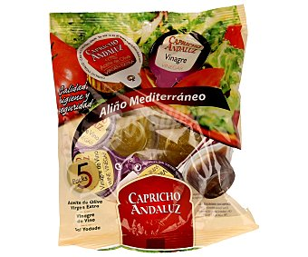 Capricho Andaluz Aliño para ensalada en monodosis Pack 10 uds (5x10ml aceite + 5x10ml vinagre + 5x1g sal)