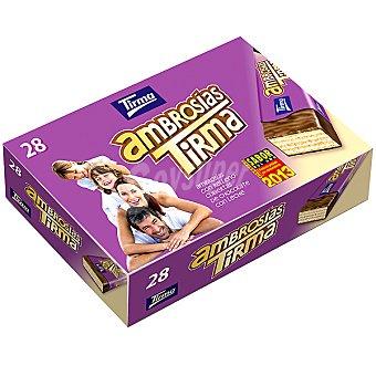 TIRMA Ambrosias Tradicionales galletas de barquillo rellenas de nata y recubiertas con chocolate estuche 616 g Estuche 616 g
