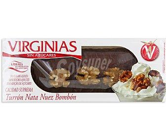 VIRGINIAS Turrón de nata y nueces bañado de chocolate sin azúcares añadidos 200 gramos