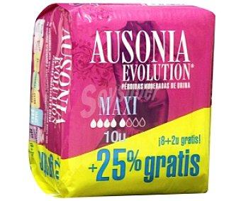 AUSONIA Evolution Compresas Maxi para perdidas moderadas de orina 10 Unidades