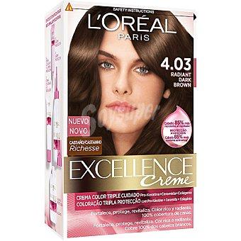 Excellence L'Oréal Paris Tinte Radiant Dark Brown nº 4.03 crema color triple cuidado con Pro-keratina + Ceramida + Colágeno Caja 1 unidad