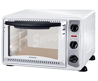 SEVERIN 2034 Mini horno, capacidad 20 litros, 1500w, temporizador de 60 minutos con señal acústica, termostato variable, medidas: 45,2 x 40,2 x 28,7 cm 20 litros