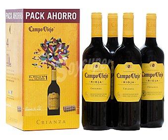Campo Viejo Caja de 4 botellas de vino tinto de crianza con denominación de origen Rioja VIEJO.