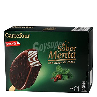 Carrefour Bombón helado sabor menta con habas de cacao Carrefour 4 ud