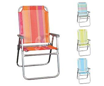 GARDEN STAR Silla plegable fija para playa y camping, fabricada en aluminio, tubo oval, asiento y respaldo de textileno con rayas y de diferentes colores 1 unidad